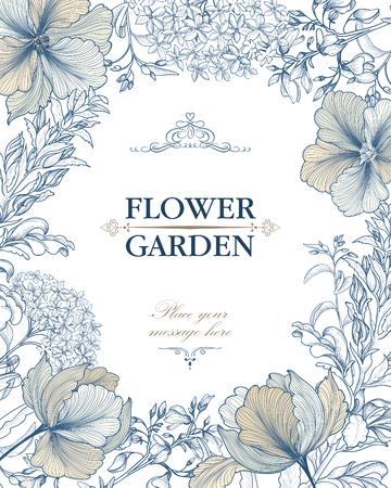 Illustration pour Floral background. Flower bouquet vintage cover. Flourish card with copy space. - image libre de droit