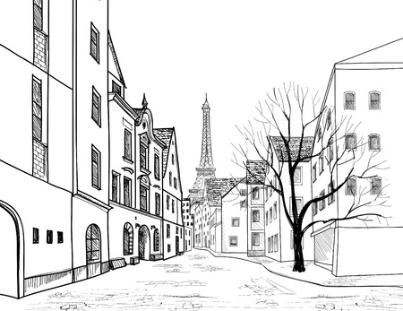 Illustration pour Paris street. Cityscape - houses, buildings and tree on alleyway with Eiffil tower on background. Old city view. Medieval european city landscape. Pencil drawn vector sketch - image libre de droit