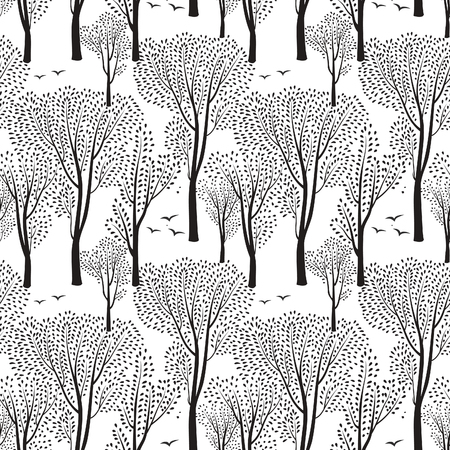 Illustration pour Nature seamless pattern. Forest tiled background. Trees and birds wildlife vector illustration.  Floral black and white wallpaper - image libre de droit
