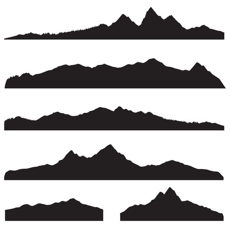 Illustration pour Mountains landscape silhouette set. Abstract high mountain border background collection - image libre de droit