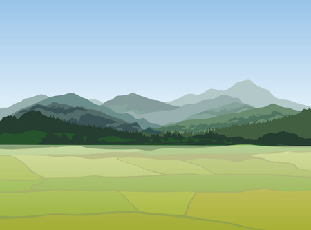 Illustration pour Rural landscape with mountains. Vector countryside view - image libre de droit