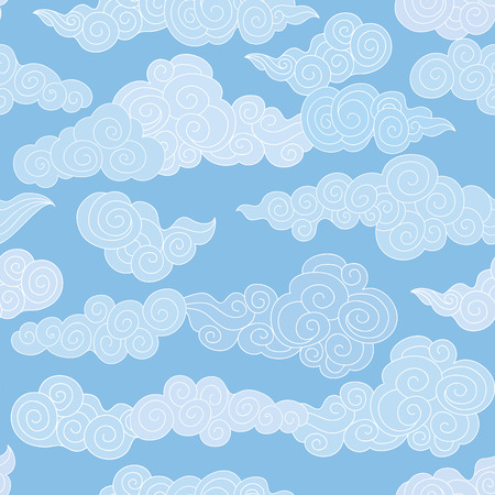 Illustration pour Abstract swirl shapes geometgrical tiled pattern in chinese style. Cloudy sky seamless backround - image libre de droit