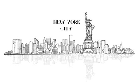 Illustration pour New York, USA skyline sketch. NYC city silhouette with Liberty monument. American landmarks. Urban  architectural landscape. Cityscape with famous buildings - image libre de droit
