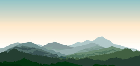 Illustration pour Landscape with mountains. Nature background. Hills of coniferous wood in dark green vector illustration - image libre de droit