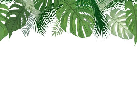 Ilustración de Floral seamless pattern. Tropical leaves background. Palm tree leaf nature border - Imagen libre de derechos