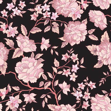 Illustration pour Floral pattern. Flower seamless background. Flourish ornamental garden - image libre de droit