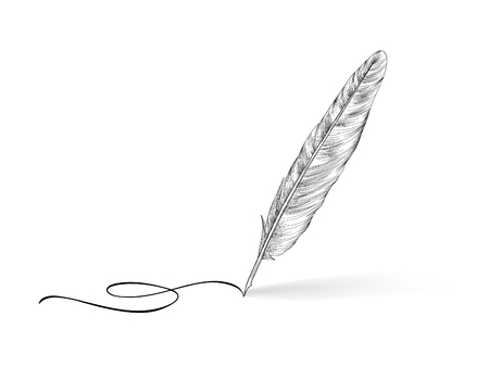 Illustration for Feather pen writing calligraphy. Literature retro sign. - Royalty Free Image