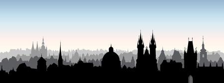 Illustration pour Prague city, Chezh Republic. Urban skyline Cathedral landmark building. Cityscape panoramic view. Travel background - image libre de droit
