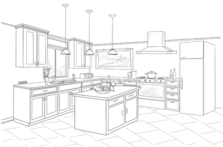 Illustration pour Outline blueprint design of kitchen with modern furniture and island - image libre de droit