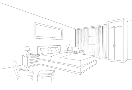 Illustration pour Bedroom furniture interior. Room line sketch drawing. Home Indoor design. Perspective of a interior space - image libre de droit