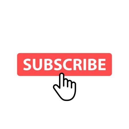 Ilustración de Subscribe button icon. Vector illustration. Cursor. Video. Social Media. - Imagen libre de derechos