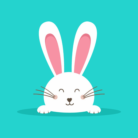 Illustrazione per Happy Easter web banner. Greeting card with rabbit. Bunny ears. Vector illustration - Immagini Royalty Free