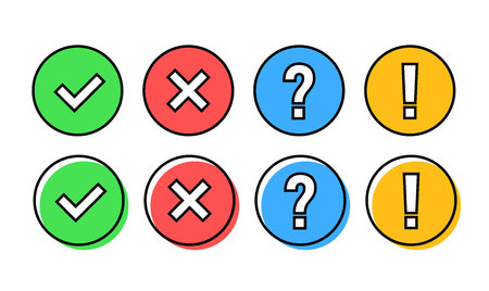 Illustration pour Check mark icon set. Green OK or V tick, red X, exclamation mark, Question mark. Approval signs. Check list, test, quiz. Vector illustration - image libre de droit
