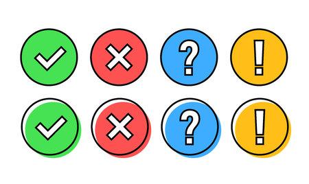 Ilustración de Check mark icon set. Green OK or V tick, red X, exclamation mark, Question mark. Approval signs. Check list, test, quiz. Vector illustration - Imagen libre de derechos