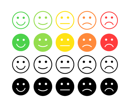 Ilustración de Feedback vector concept. Rank, level of satisfaction rating. Excellent, good, normal, bad awful. Feedback in form of emotions, smileys, emoji. User experience Review of consumer - Imagen libre de derechos
