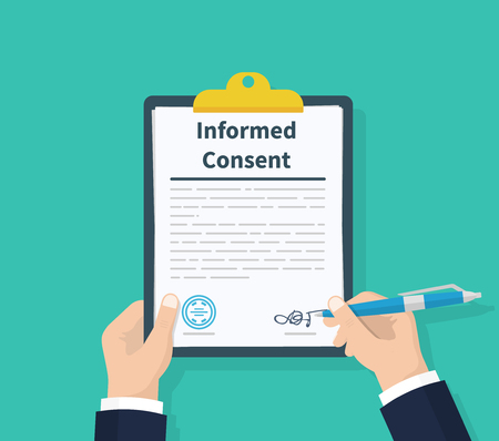 Photo pour Man hold information consent. Human signs document. Business or medical agreement. Clipboard in hand. Flat design, vector illustration on background - image libre de droit