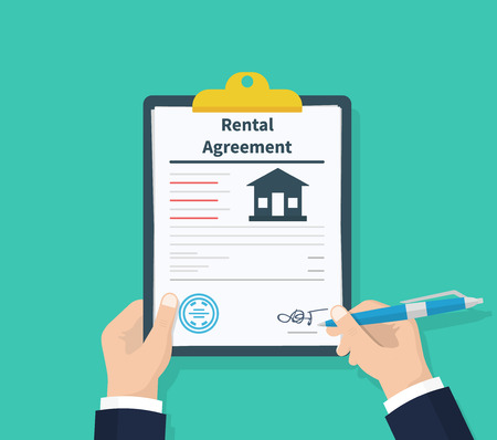 Illustration pour Man hold Rental agreement form contract. Clipboard in hand. Signing document. Flat design, vector illustration on background - image libre de droit