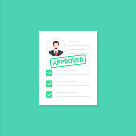 Illustration pour Approved clipboard. Clipboard application with document, green approved stamp and pen. Modern flat design graphic elements. Vector illustration concept - image libre de droit