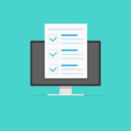 Photo pour Online form survey, monitor with showing long quiz exam paper sheet document icon, on-line questionnaire results, check list or internet test. Vector illustration - image libre de droit