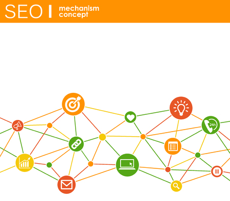 Ilustración de SEO mechanism concept. Abstract background with integrated gears and icons for strategy, digital, internet, network, connect, analytics, social media and global concepts - Imagen libre de derechos