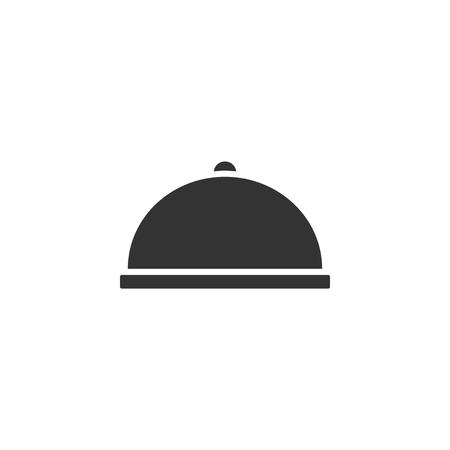 Illustration pour Covered Food. Black Icon Flat on white background - image libre de droit