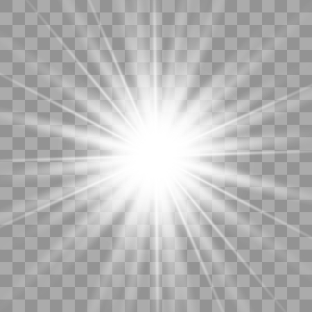 Ilustración de White glowing light burst explosion with transparent. Vector illustration for cool effect decoration with ray sparkles. Bright star. Transparent shine gradient glitter, bright flare. Glare texture. - Imagen libre de derechos