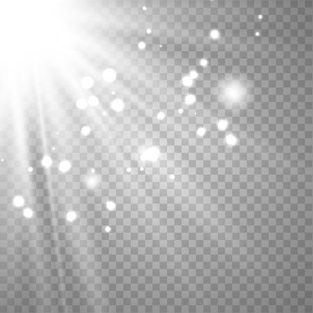 Ilustración de White glowing light explodes on a transparent background. Sparkling magical dust particles. Bright Star. Transparent shining sun, bright flash. Vector sparkles. To center a bright flash. - Imagen libre de derechos