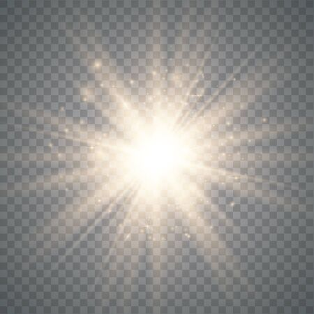 Ilustración de Glow light effect. Star burst with sparkles. Special effect isolated on transparent background. Vector illustration eps10 - Imagen libre de derechos