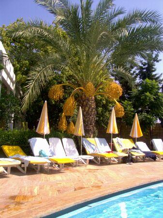 Foto de sunchairs on a pool in a hotel - Imagen libre de derechos