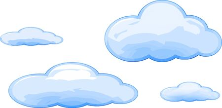Illustration pour Many size Vector of blue clouds cartoon style isolated. - image libre de droit