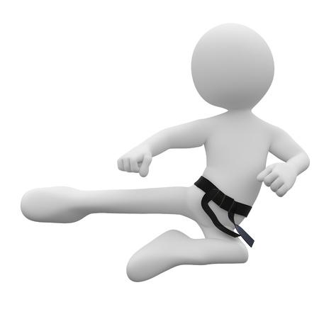 Karate man in combat position III
