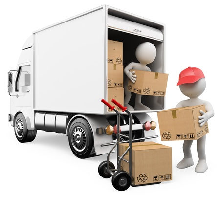 3d white persons unloading boxes from a truck to a hand truck  3d image  Isolated white background