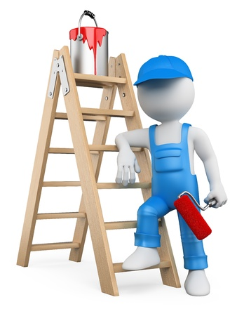 Photo for 3d white person painter with ladder and paint roller. Isolated white background. - Royalty Free Image