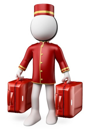 Photo pour 3D white people. Bellhop with two trolley suitcases. Isolated white background. - image libre de droit