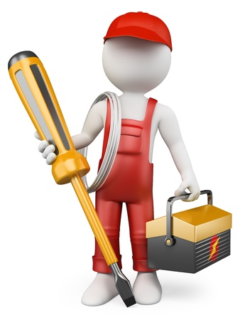 Foto de 3d white people. Electrician with tool box and screwdriver . Isolated white background.  - Imagen libre de derechos