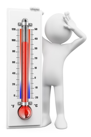 Photo for 3d white people. Thermometer in summer hot days. Isolated white background - Royalty Free Image
