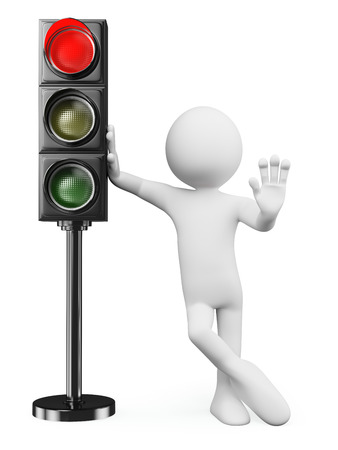 3d white people. Man leaning on a red traffic light ordering to stop. Isolated white background.