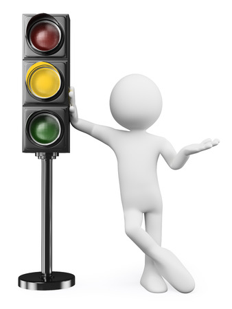 3d white people. Man leaning on a amber traffic light. Isolated white background.