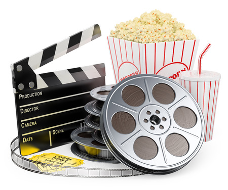 Photo for Cinema clapper film reel drink popcorn and tickets. Isolated white background.  - Royalty Free Image