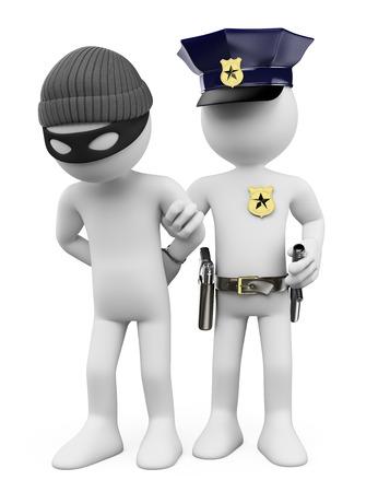 Foto de 3d white people. Police arresting a thief. Isolated white background. - Imagen libre de derechos