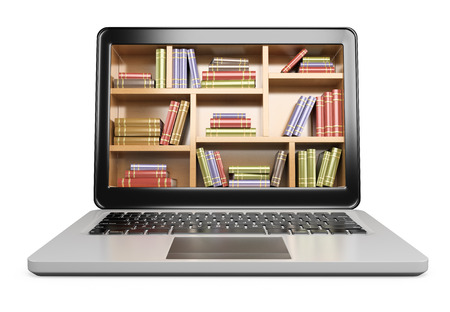 Foto de 3D Laptop. Digital Library concept. Isolated white background.  - Imagen libre de derechos