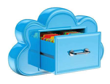 Foto de 3D Cloud storage services concept . Isolated white background. - Imagen libre de derechos