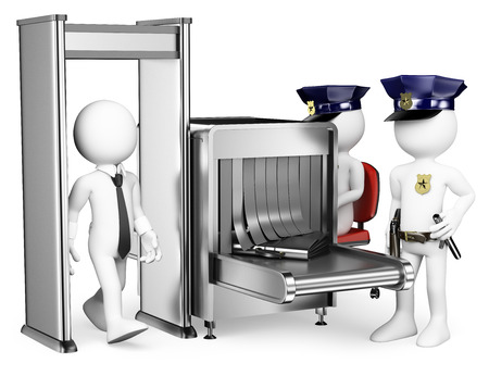 Foto de 3d white people of Security control airport access with two policemen near Metal detector. Isolated white background. - Imagen libre de derechos