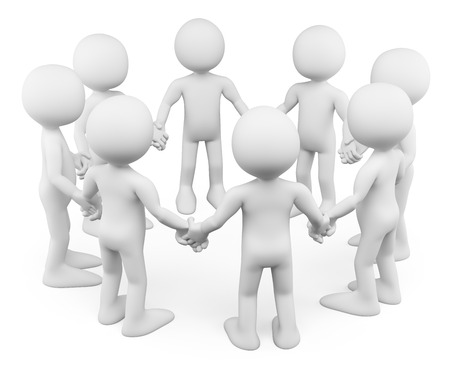 Photo for 3d white people. Circle of people holding hands together. Isolated white background. - Royalty Free Image