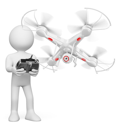 Foto de 3d white people. Man flying a white drone with camera. Isolated white background. - Imagen libre de derechos