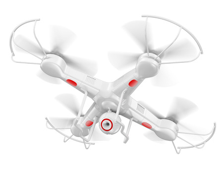 Foto de 3d white drone with camera. Isolated white background. - Imagen libre de derechos