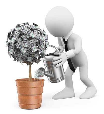Photo pour 3d white people. Businessman watering a money plant. Isolated white background. - image libre de droit
