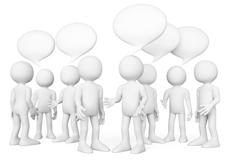 Foto de 3d white people. Group of people talking. Chat concept. Isolated white background. - Imagen libre de derechos