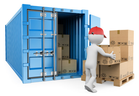 Photo pour 3d white people. Worker unloading a container. Isolated white background. - image libre de droit