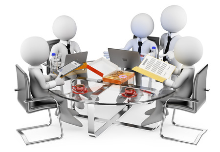 Foto de 3d white people. Business informal meeting. Isolated white background. - Imagen libre de derechos